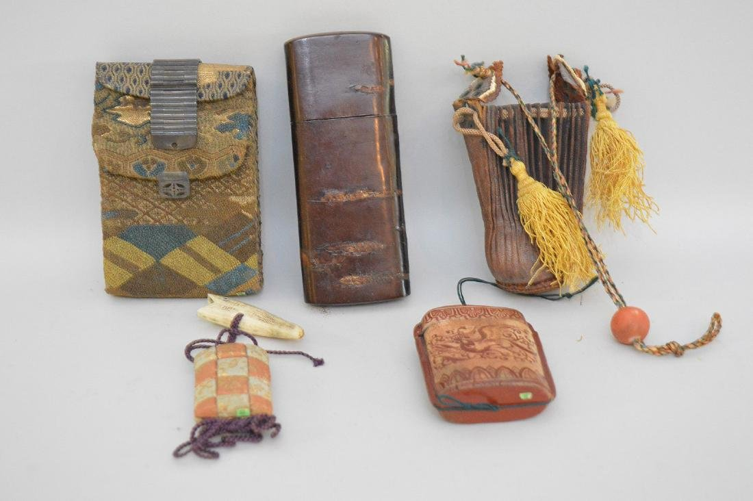 COLLECTION OF 4 JAPANESE INRO WITH LEATHER POUCH -