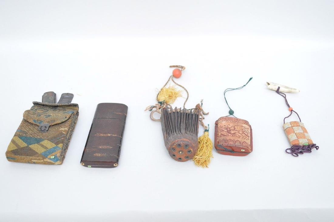 COLLECTION OF 4 JAPANESE INRO WITH LEATHER POUCH - - 3