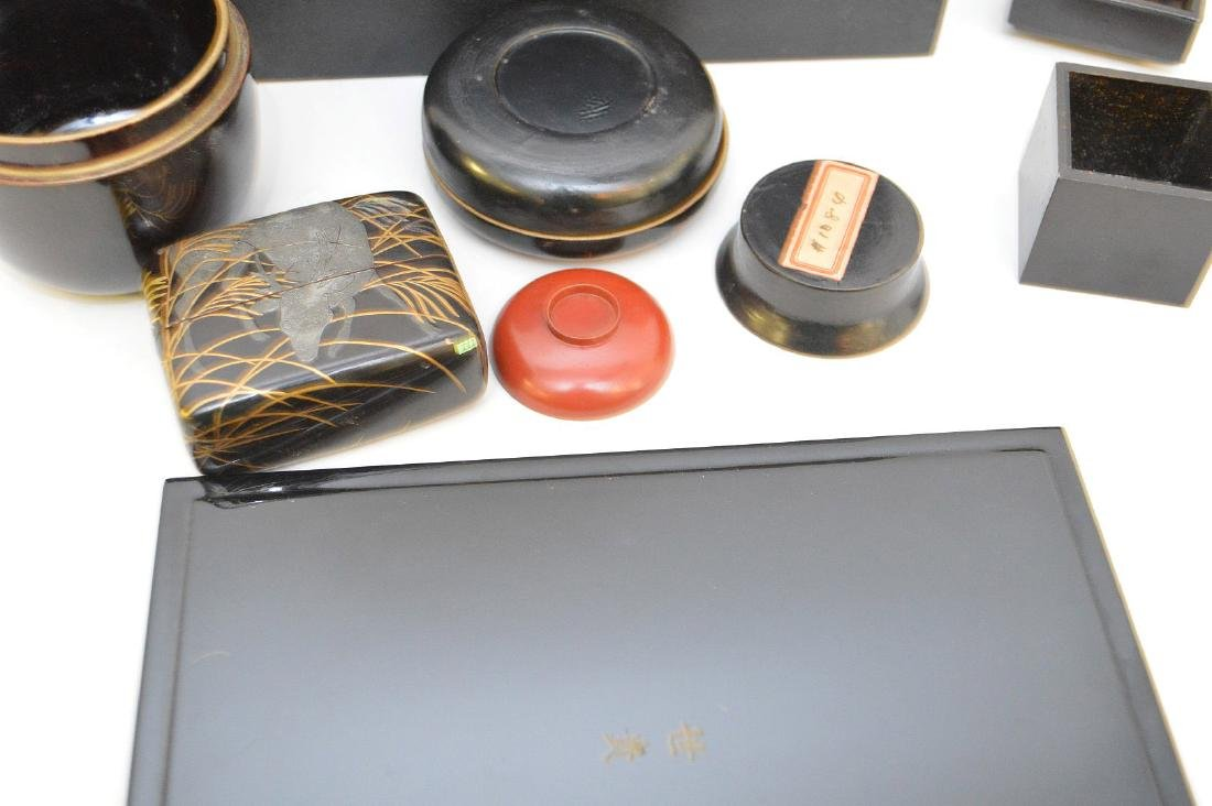 GROUP OF 7 CHINESE & JAPANESE LACQUERED ARTICLES - - 3