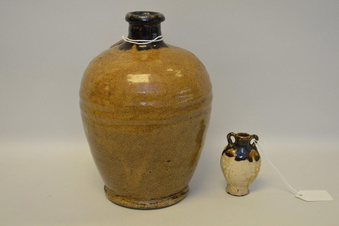 EARLY LARGE CHINESE BOTTLE VASE & SMALL PILGRIM VASE -