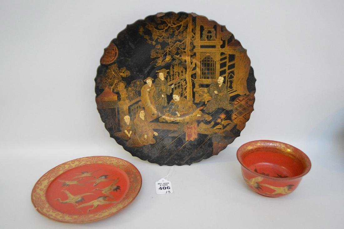 THREE LACQUERED JAPANESE/CHINESE ARTICLES - Includes: a