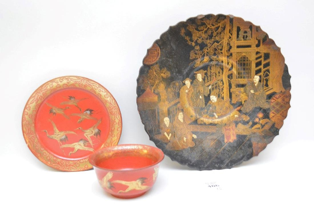 THREE LACQUERED JAPANESE/CHINESE ARTICLES - Includes: a - 2