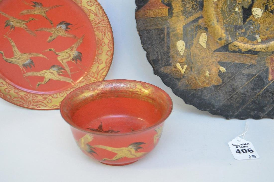 THREE LACQUERED JAPANESE/CHINESE ARTICLES - Includes: a - 3