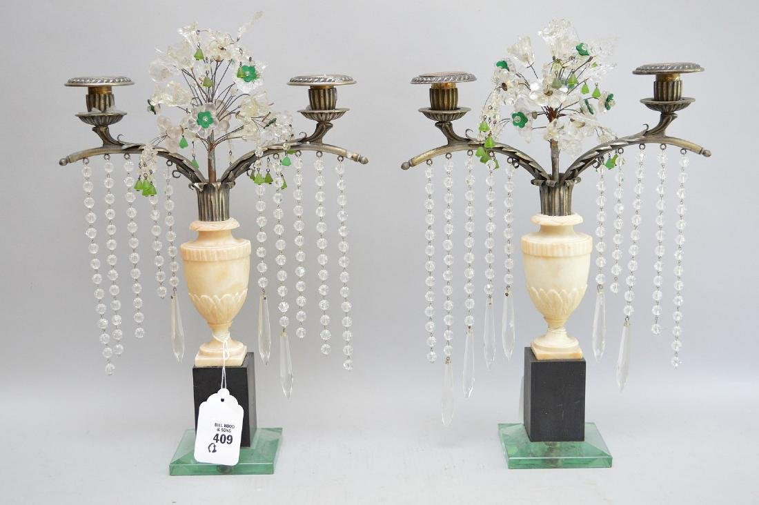 """Pair of very heavy brass, marble & glass lamps, 17""""h"""