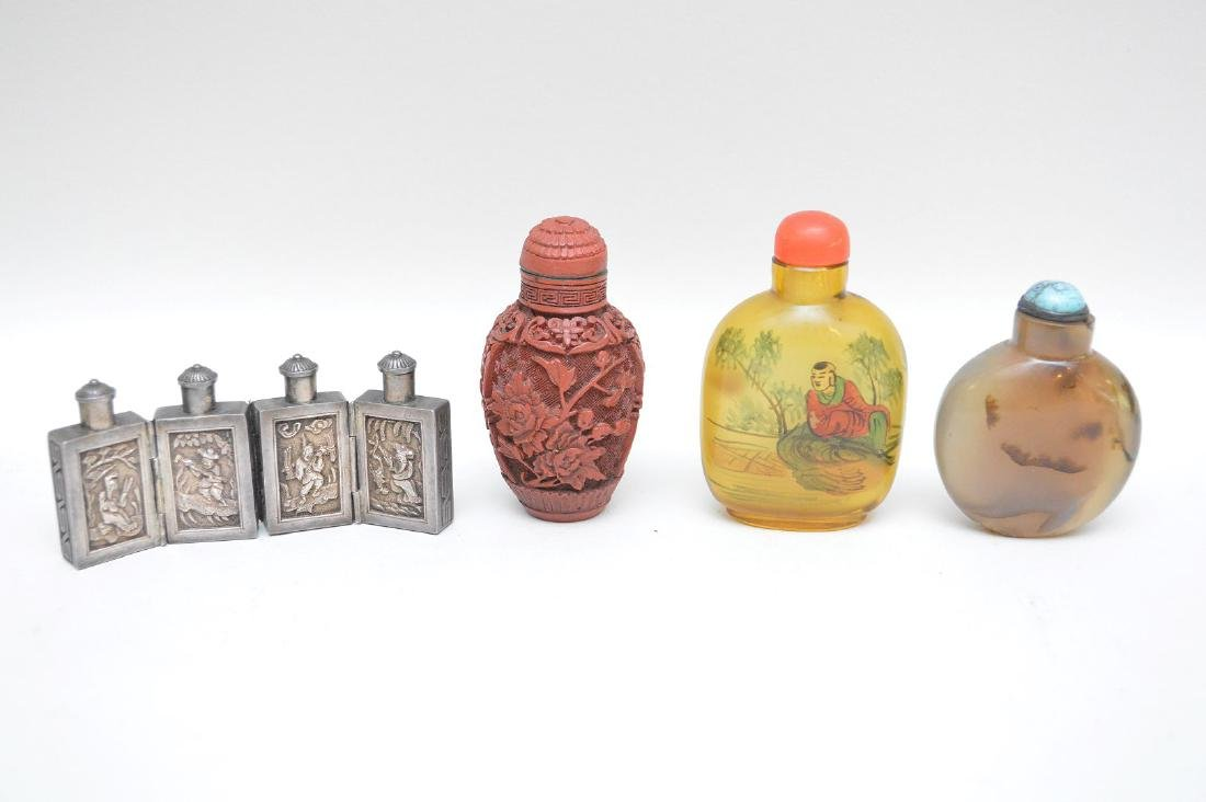 FOUR ANTIQUE CHINESE SNUFF BOTTLES - Cinnabar snuff - 2