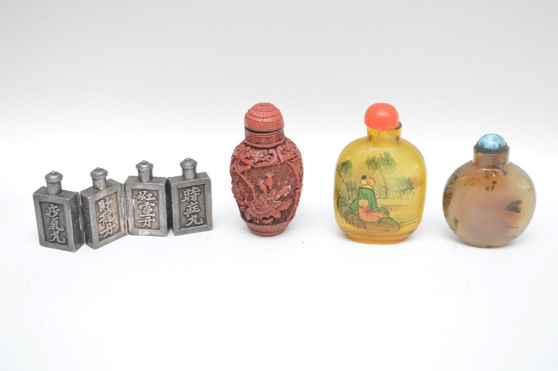 FOUR ANTIQUE CHINESE SNUFF BOTTLES - Cinnabar snuff - 5