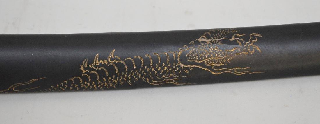 JAPANESE TANTO SHORT SWORD - Carved wood handle - 2