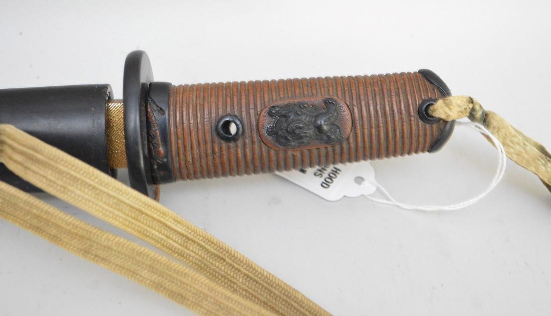 JAPANESE TANTO SHORT SWORD - Carved wood handle - 6