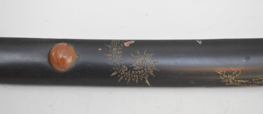 JAPANESE TANTO SHORT SWORD - Carved wood handle - 7