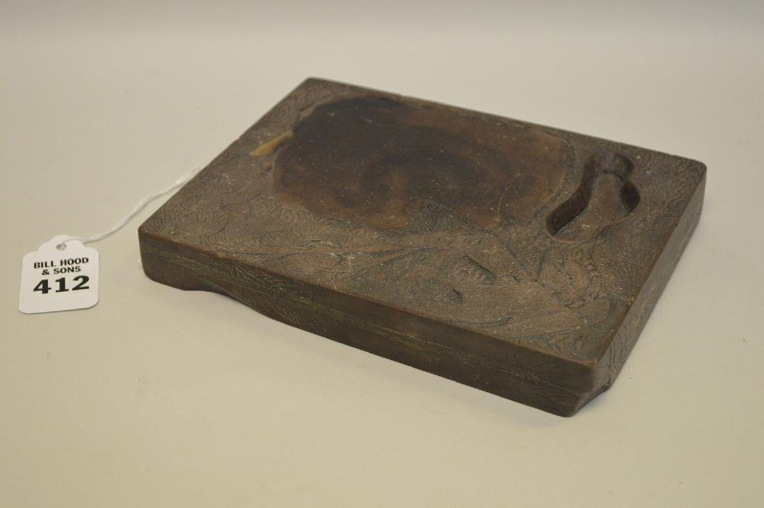 ANTIQUE CHINESE CARVED INK STONE -Features decoration