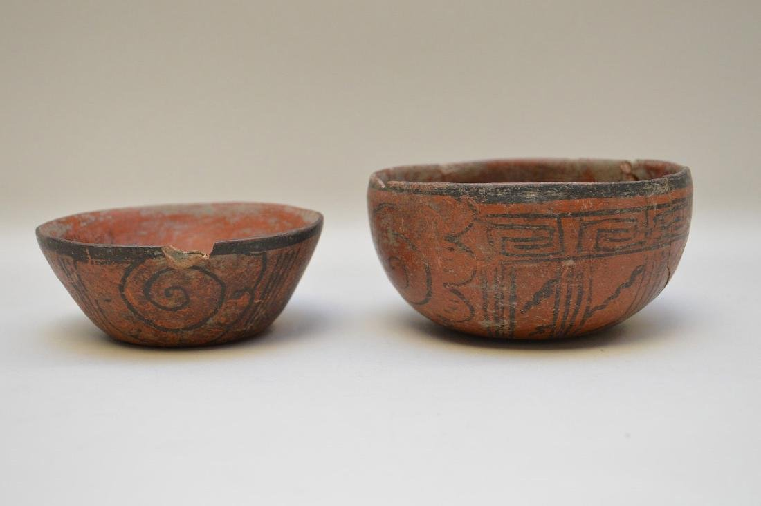 TWO PRE-COLUMBIAN RED & BLACK POTTERY VESSELS - Each