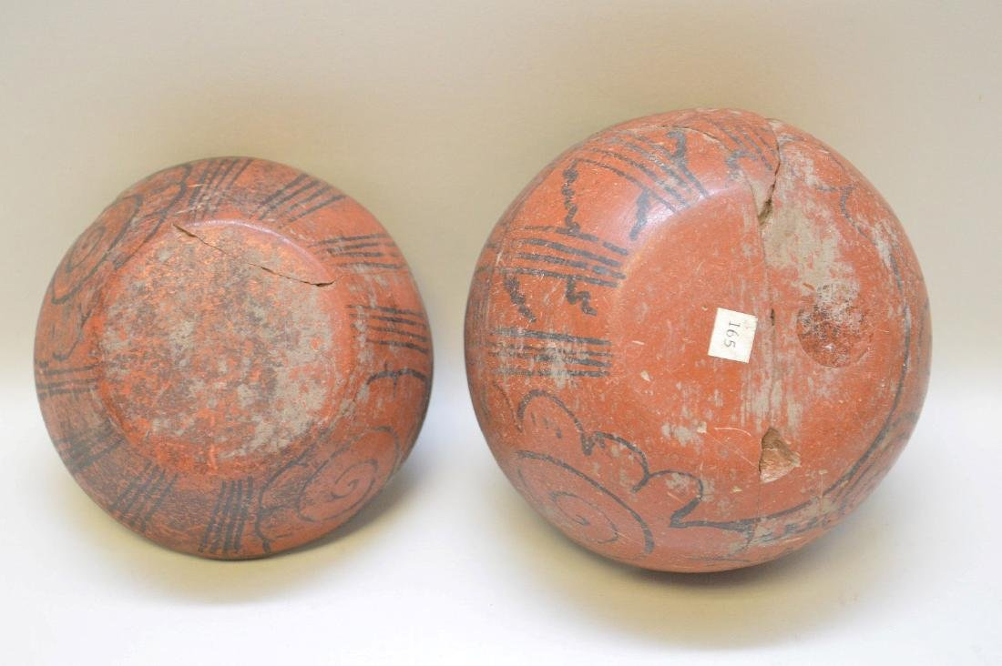 TWO PRE-COLUMBIAN RED & BLACK POTTERY VESSELS - Each - 2
