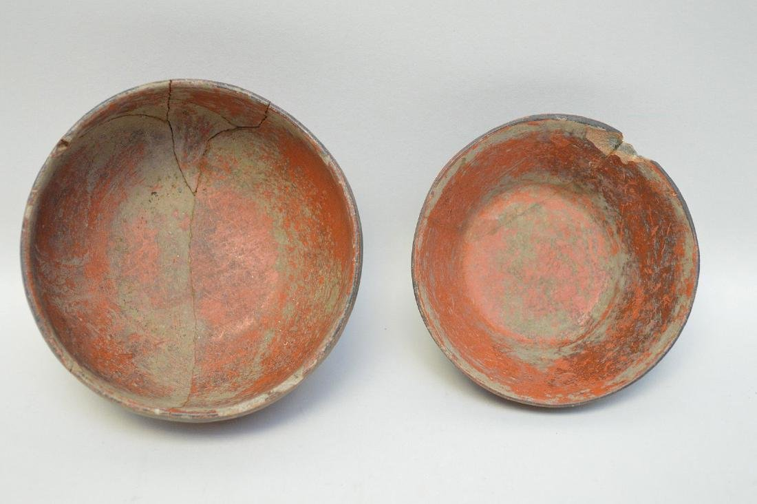 TWO PRE-COLUMBIAN RED & BLACK POTTERY VESSELS - Each - 3
