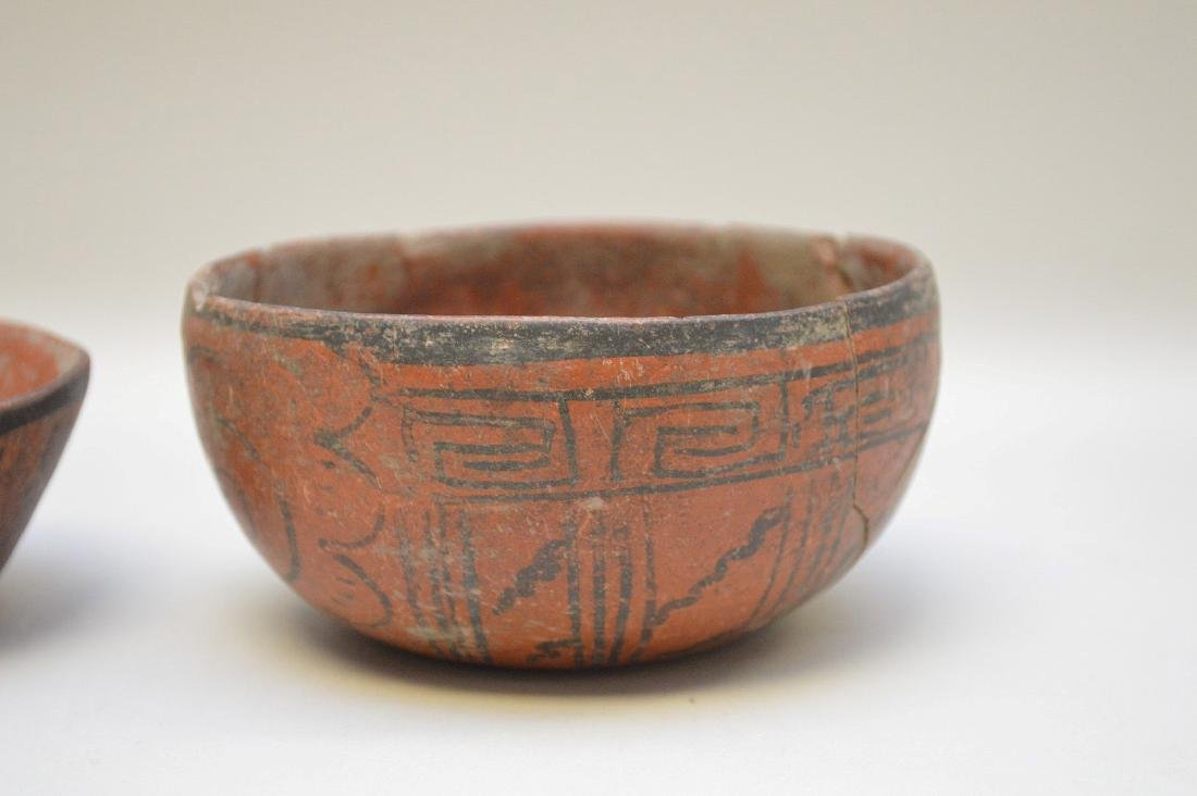 TWO PRE-COLUMBIAN RED & BLACK POTTERY VESSELS - Each - 4