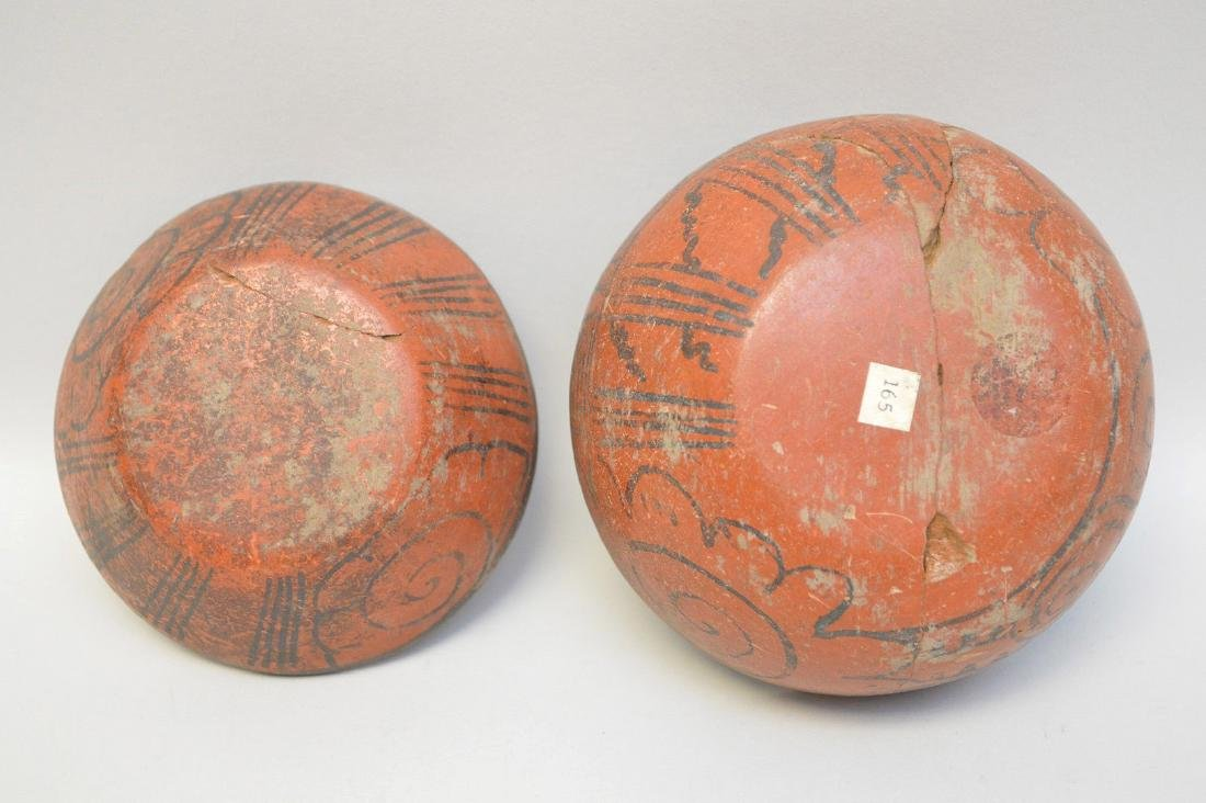 TWO PRE-COLUMBIAN RED & BLACK POTTERY VESSELS - Each - 5