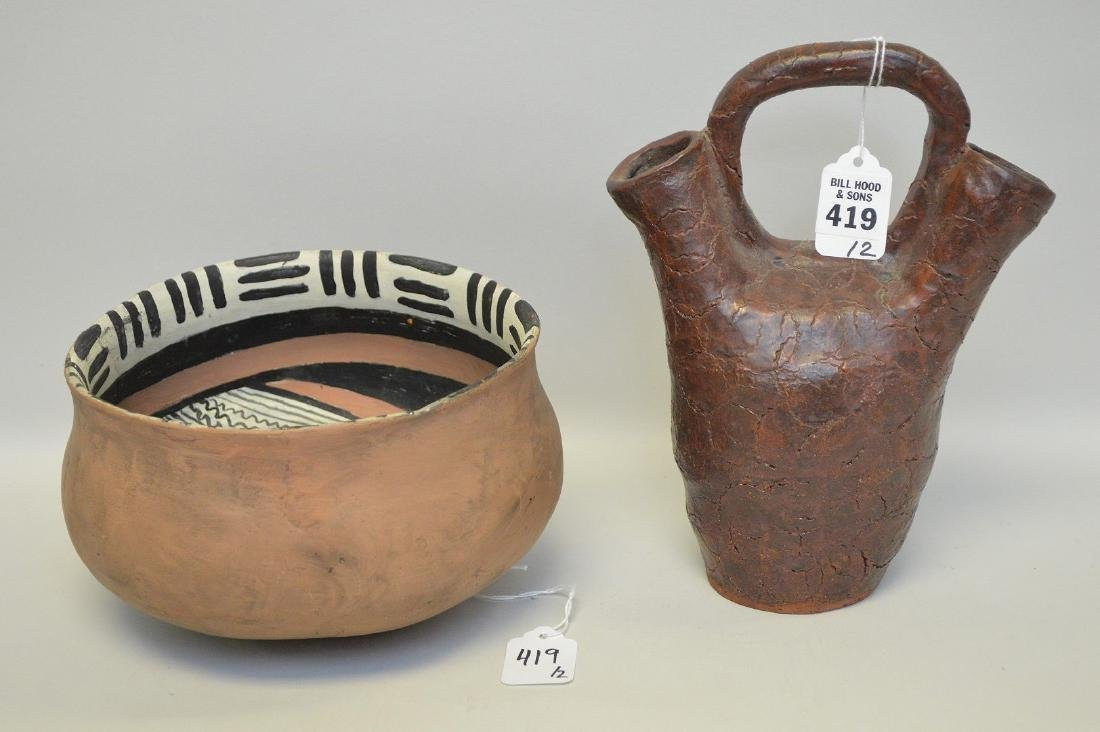 TWO NATIVE AMERICAN POTTERY VESSELS - Includes: a