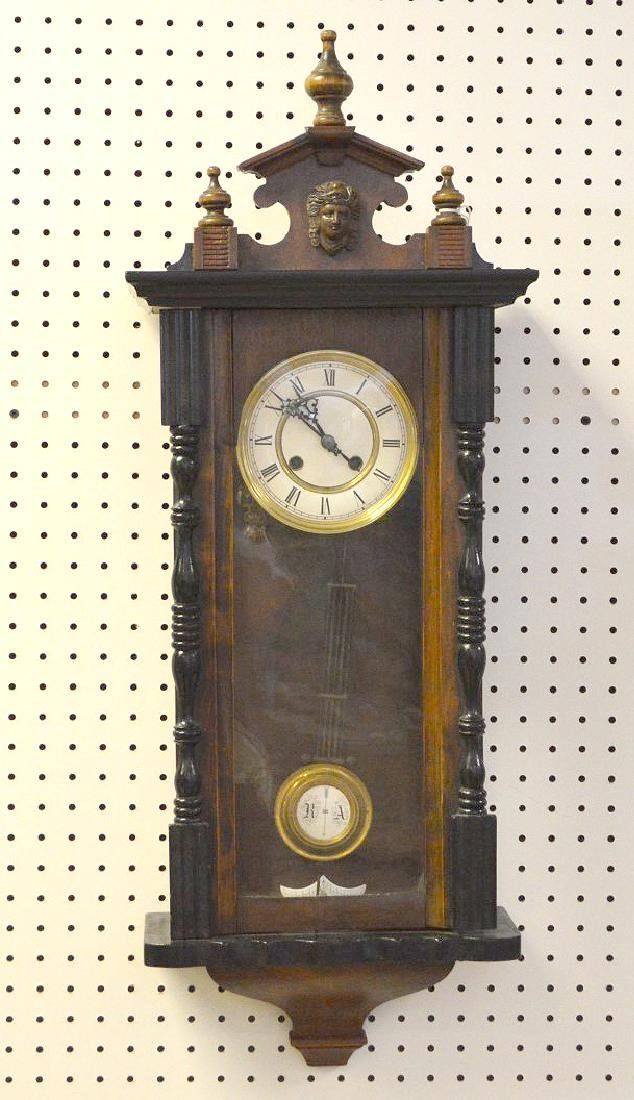 MAHOGANY & EBONIZED REGULATOR CLOCK - with time &