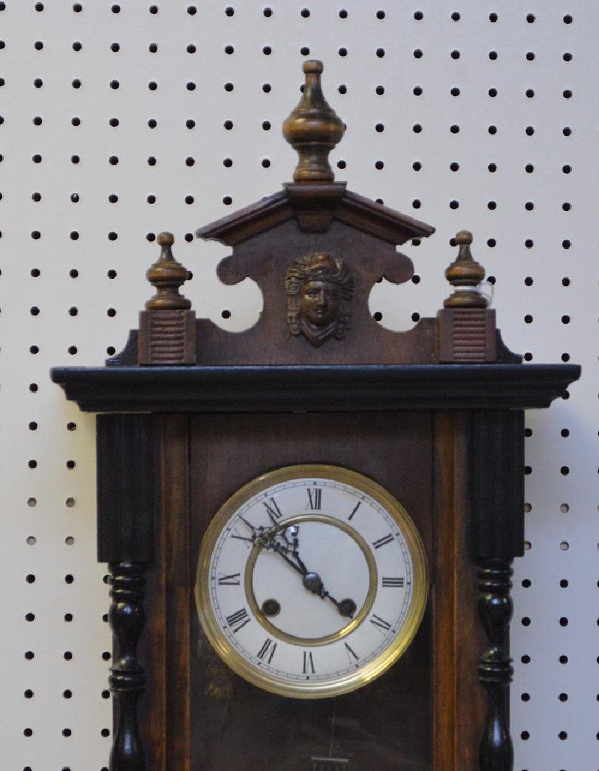 MAHOGANY & EBONIZED REGULATOR CLOCK - with time & - 2