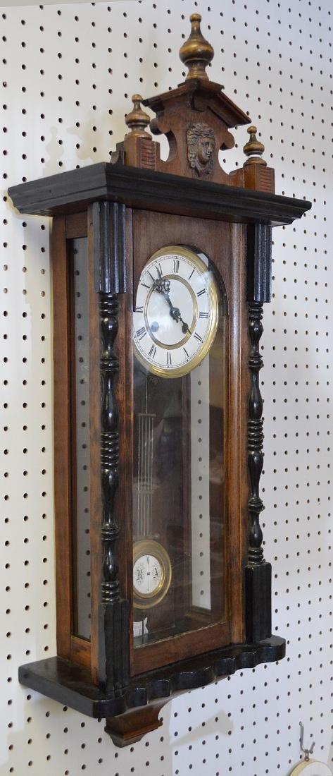 MAHOGANY & EBONIZED REGULATOR CLOCK - with time & - 3