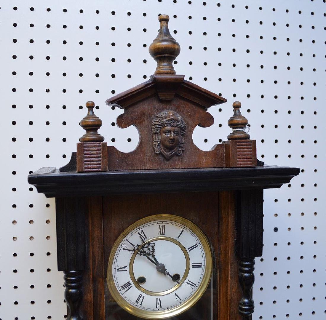 MAHOGANY & EBONIZED REGULATOR CLOCK - with time & - 4