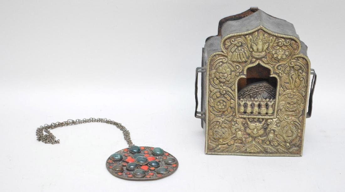 TIBETAN METAL TRAVEL ALTAR & AMULET - Travel altar