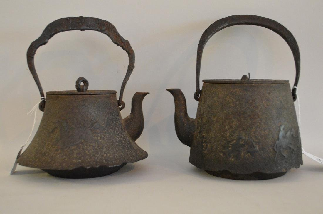 TWO EARLY JAPANESE CAST IRON TEAPOTS - Includes: Horse