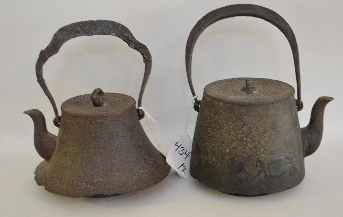 TWO EARLY JAPANESE CAST IRON TEAPOTS - Includes: Horse - 4
