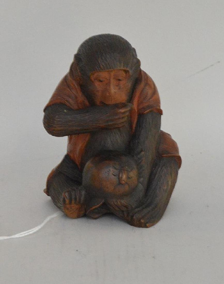 EARLY JAPANESE CARVED WOOD MONKEY FIGURE - Figure is