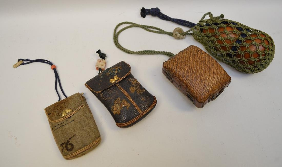 TWO ANTIQUE JAPANESE TOBACCO POUCHES & GOURD FLASK -