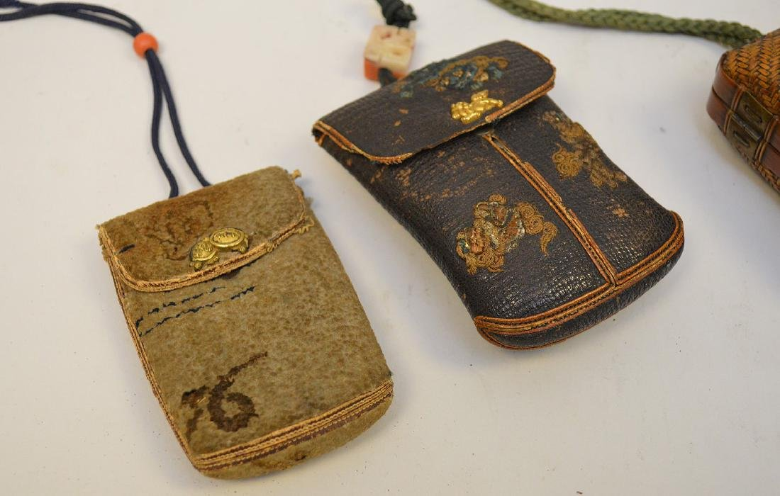TWO ANTIQUE JAPANESE TOBACCO POUCHES & GOURD FLASK - - 2