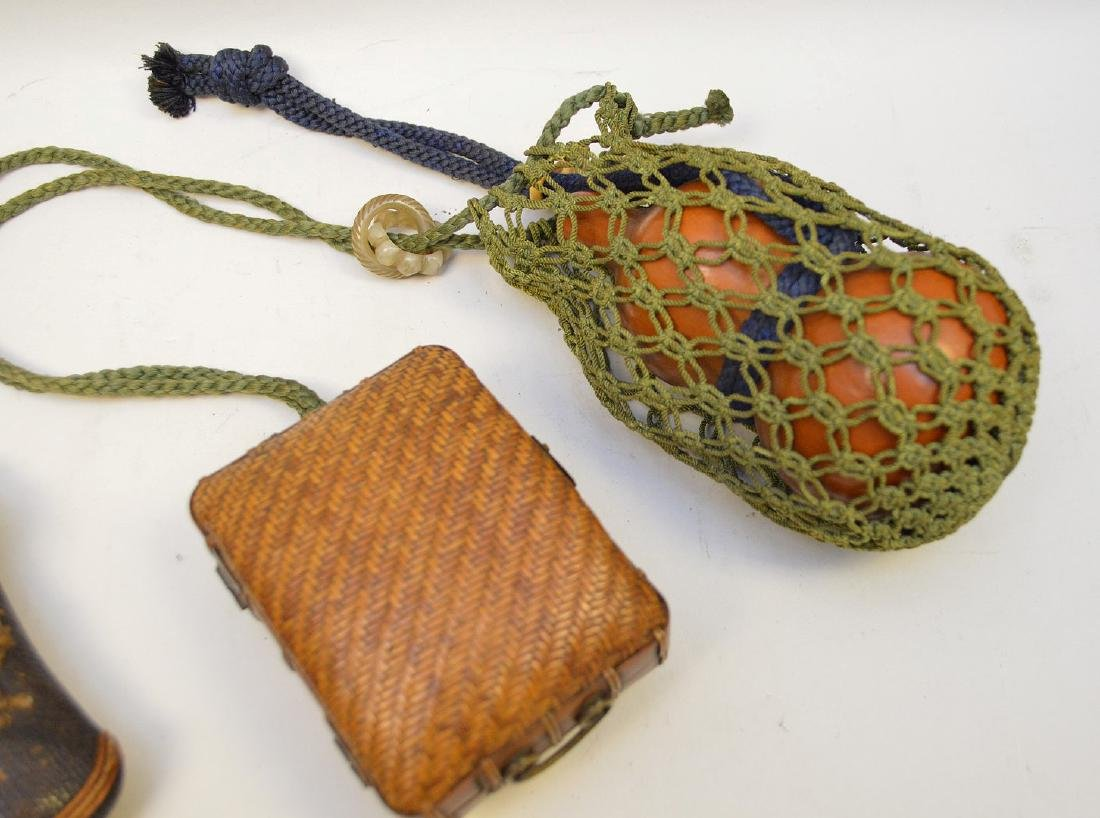 TWO ANTIQUE JAPANESE TOBACCO POUCHES & GOURD FLASK - - 3