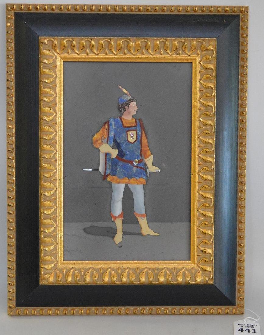 FRAMED PIETRA DURA PLAQUE depicting a cavalier.
