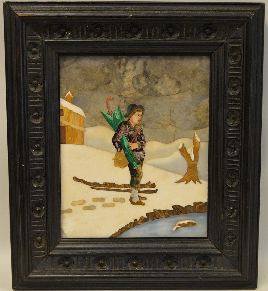 FRAMED PIETRA DURA PLAQUE depicting a boy walking in