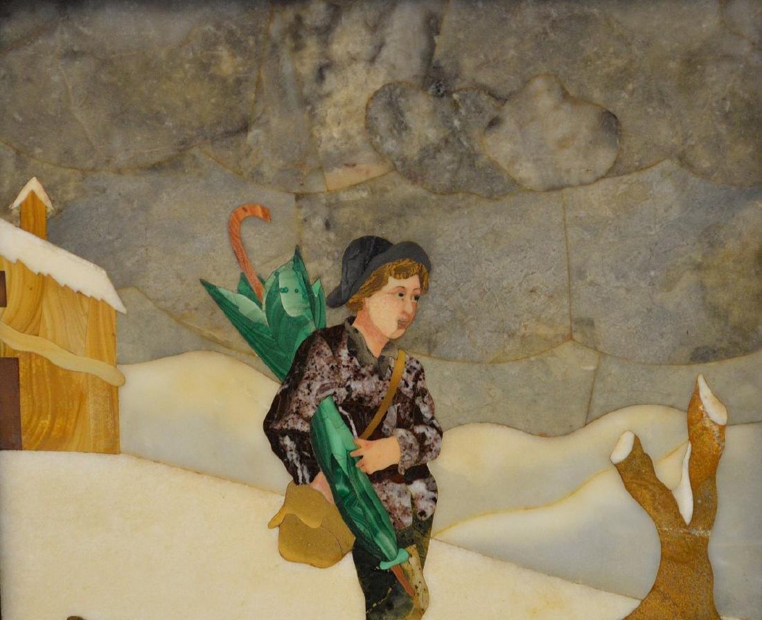 FRAMED PIETRA DURA PLAQUE depicting a boy walking in - 2