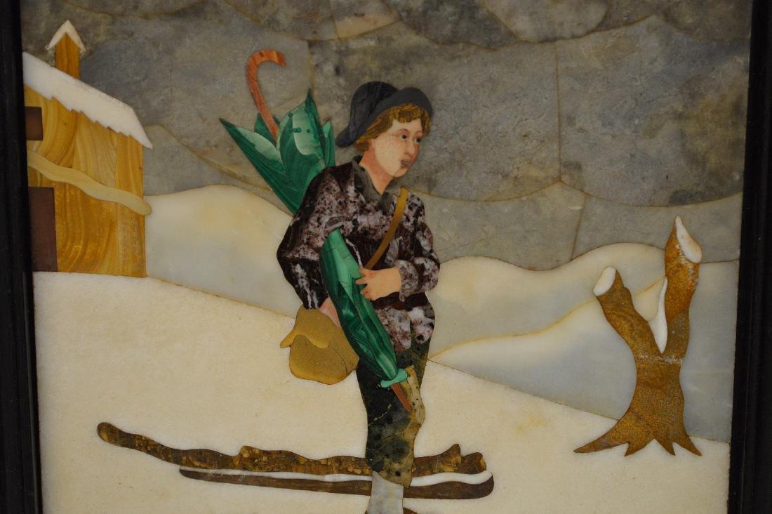FRAMED PIETRA DURA PLAQUE depicting a boy walking in - 3