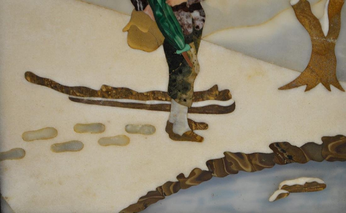 FRAMED PIETRA DURA PLAQUE depicting a boy walking in - 4