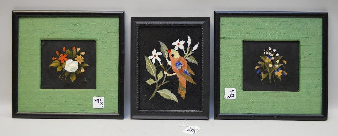 3 FRAMED PIETRA DURA PLAQUES.  Two plaques with floral