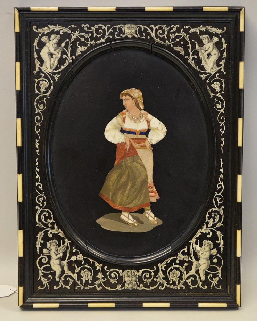 OVAL PIETRA DURA PLAQUE IN A INLAID FRAME.  Condition:
