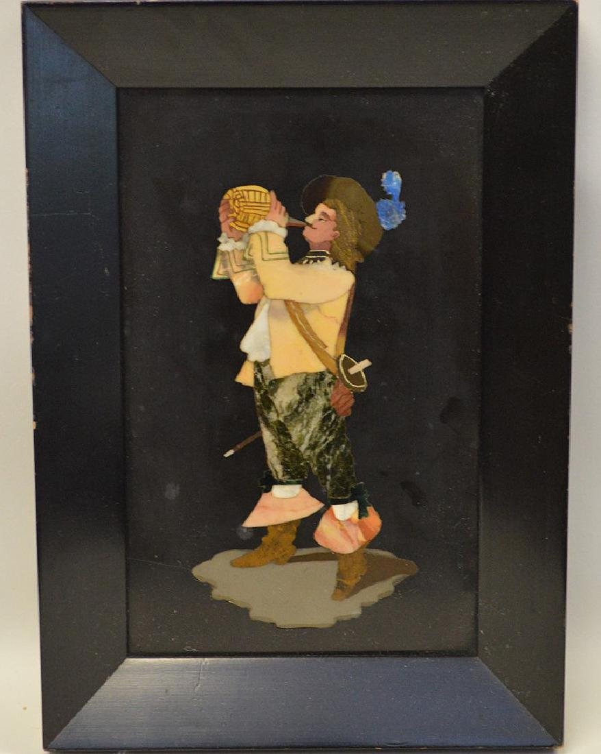 FRAMED PIETRA DURA PLAQUE depicting a cavalier taking a