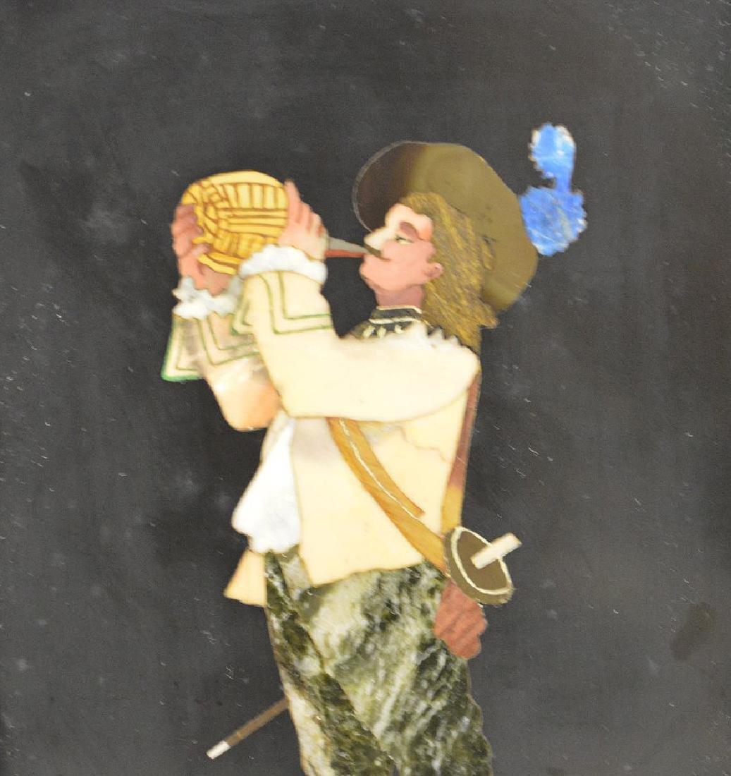 FRAMED PIETRA DURA PLAQUE depicting a cavalier taking a - 2