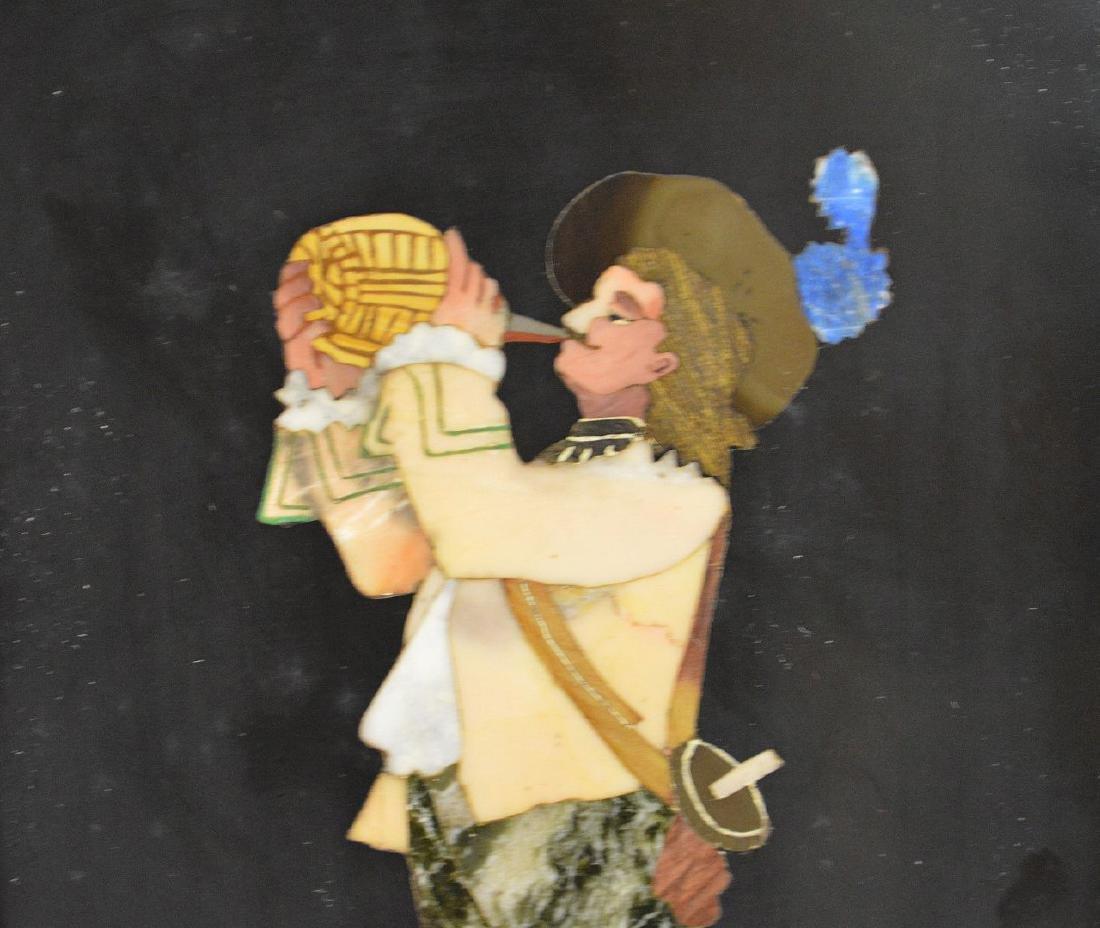 FRAMED PIETRA DURA PLAQUE depicting a cavalier taking a - 3