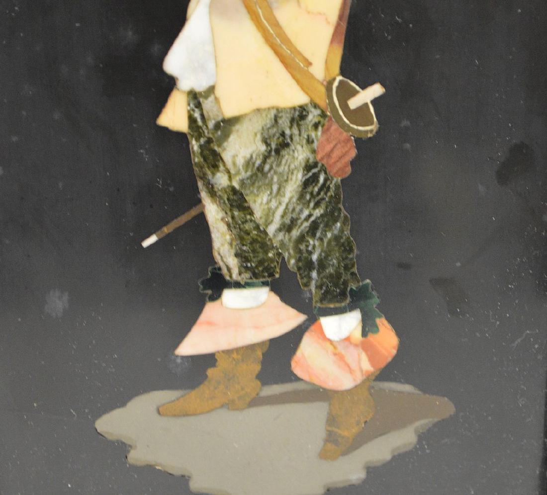 FRAMED PIETRA DURA PLAQUE depicting a cavalier taking a - 4