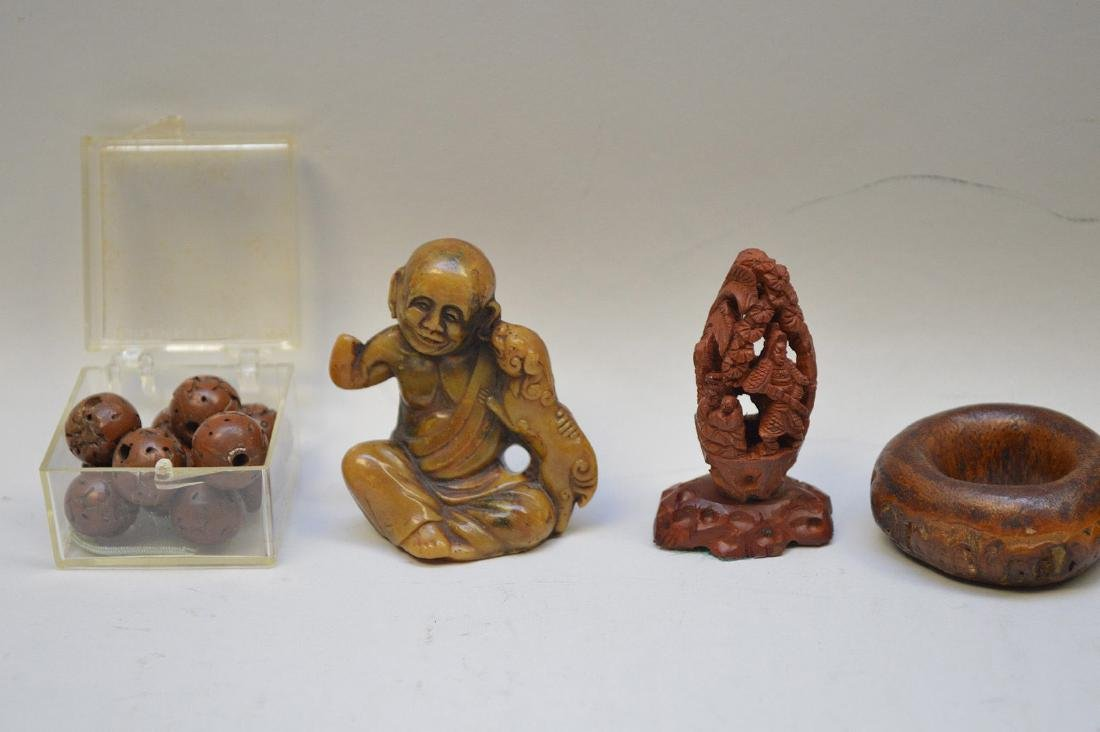 FIVE EARLY JAPANESE WOOD & SEED CARVINGS -Includes a - 3