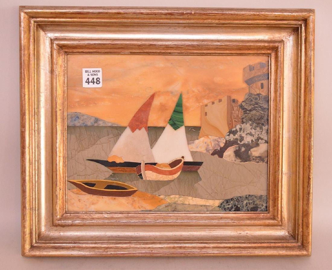 FRAMED PIETRA DURA PLAQUE depicting sailboats.