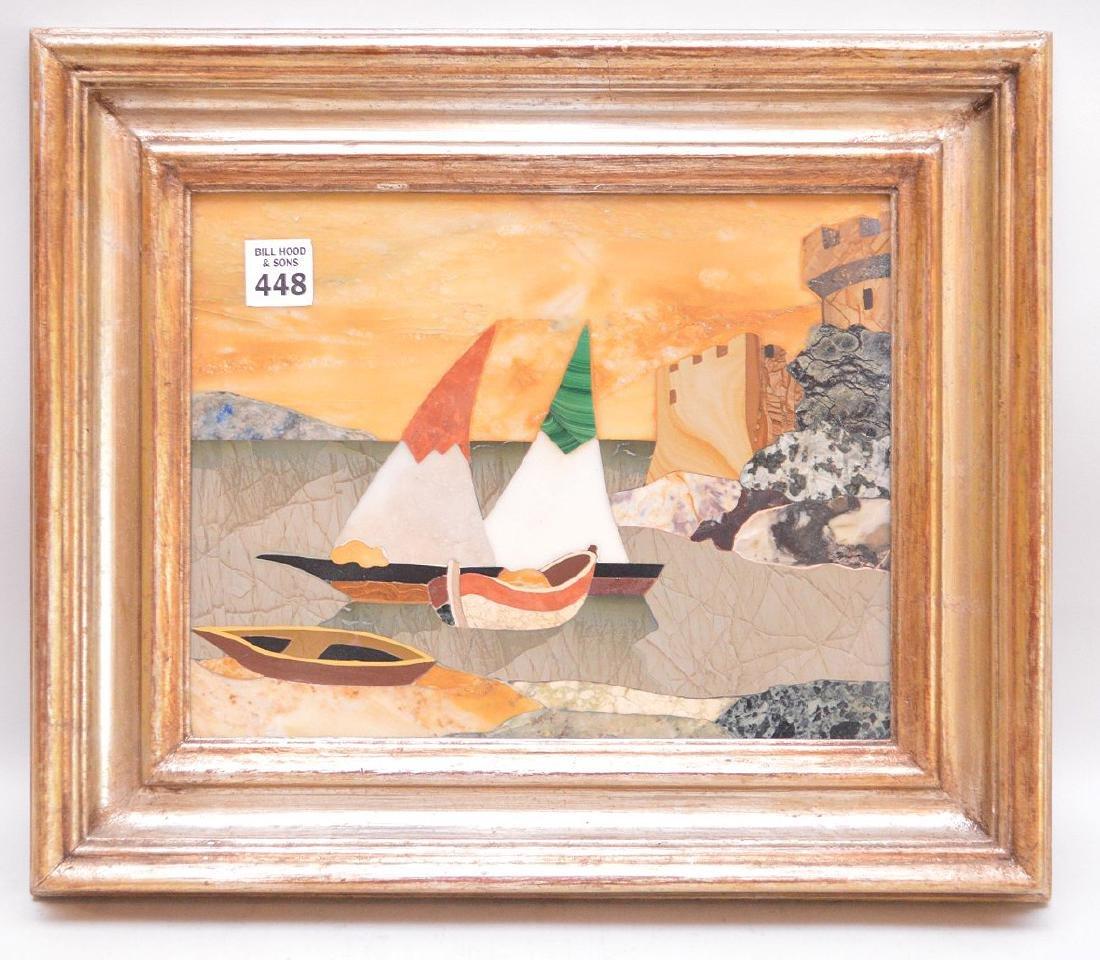 FRAMED PIETRA DURA PLAQUE depicting sailboats. - 2