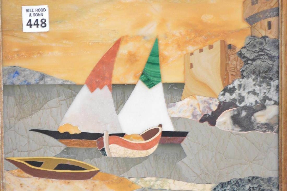 FRAMED PIETRA DURA PLAQUE depicting sailboats. - 3