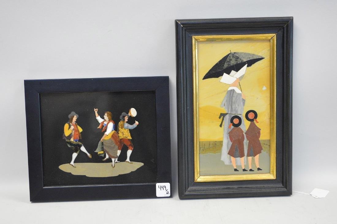 2 PIETRA DURA PLAQUES.  1 Plaque depicting a nun and
