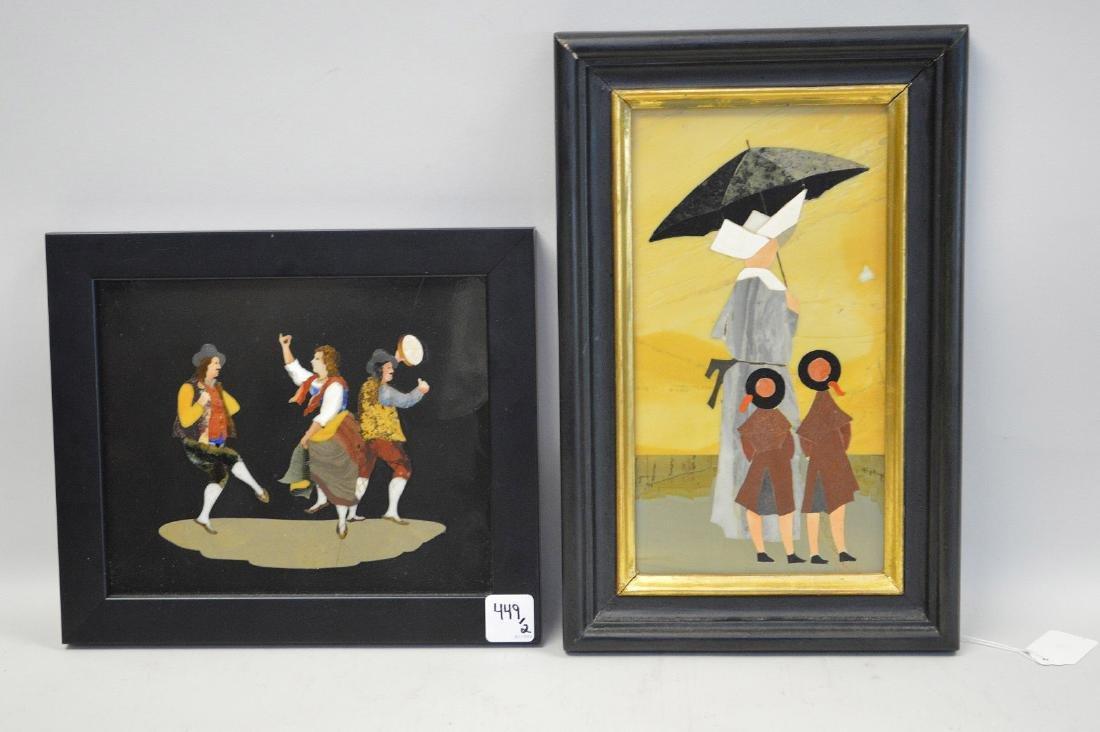 2 PIETRA DURA PLAQUES.  1 Plaque depicting a nun and - 2
