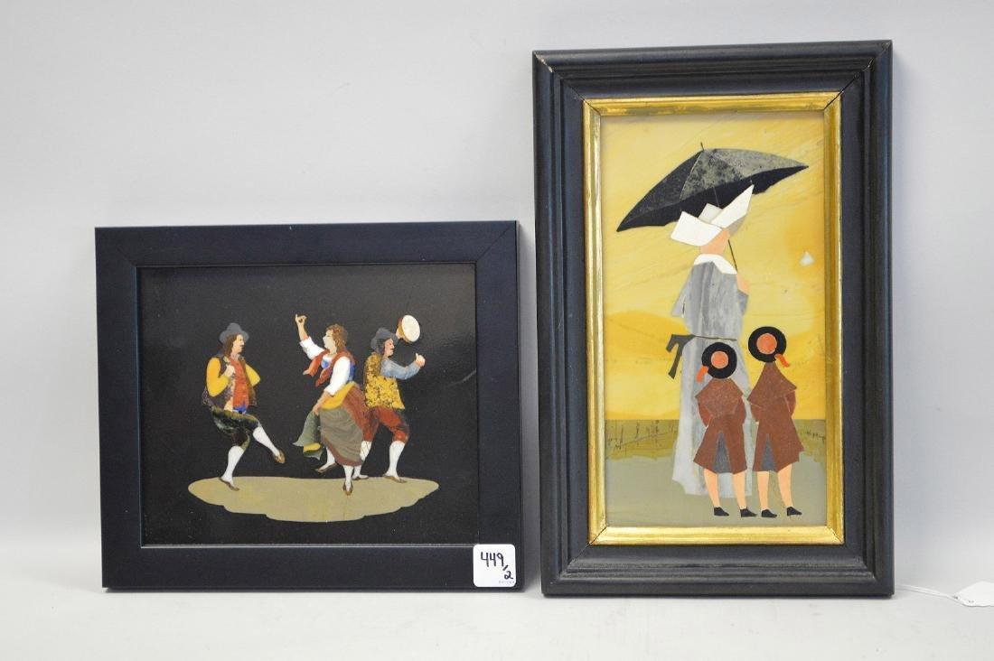 2 PIETRA DURA PLAQUES.  1 Plaque depicting a nun and - 3