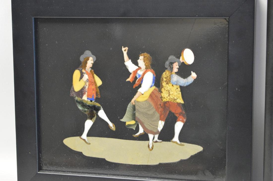 2 PIETRA DURA PLAQUES.  1 Plaque depicting a nun and - 4